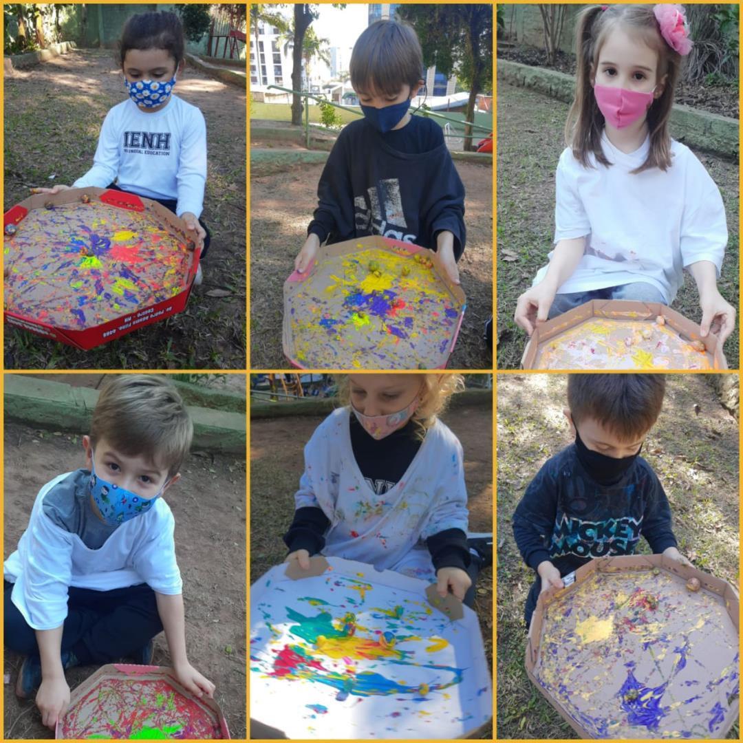 Arte com semente: turmas da Educação Infantil produzem quadro a partir de elemento da natureza