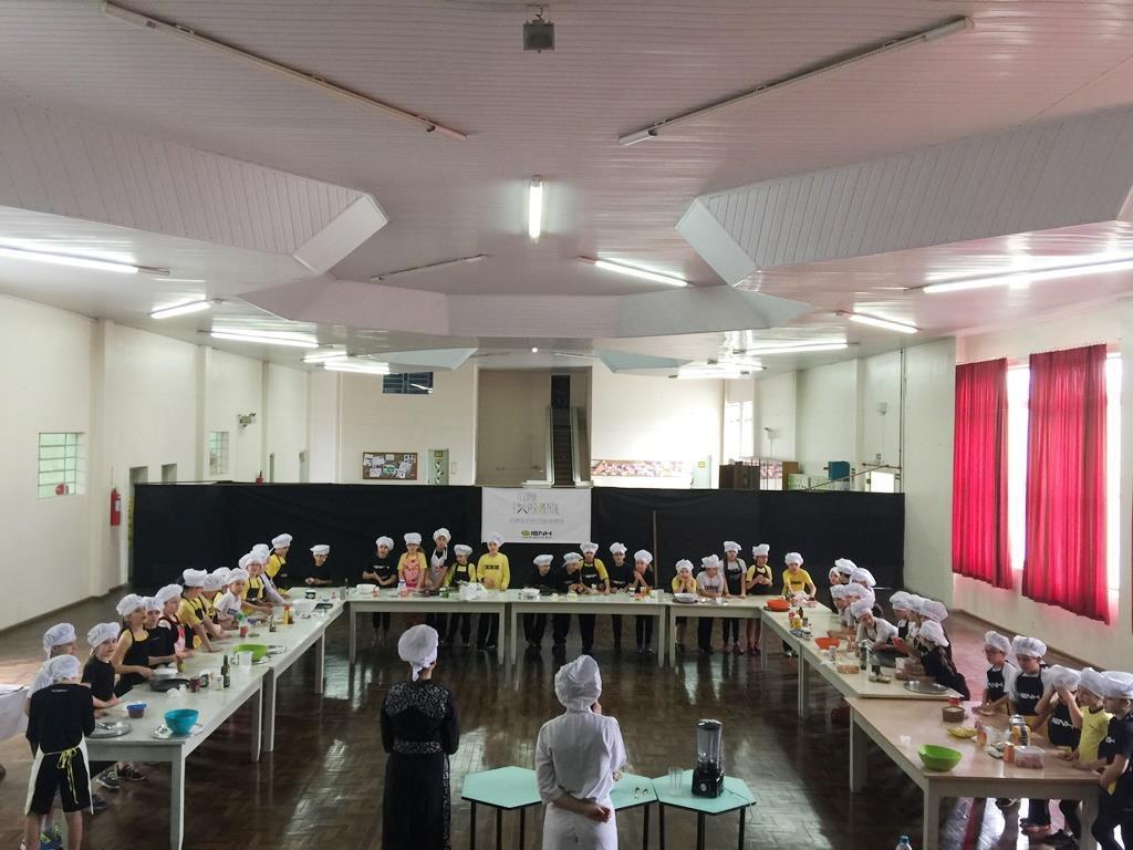 Cozinha Experimental: alunos preparam pizza com orientações em Espanhol, Inglês e Português