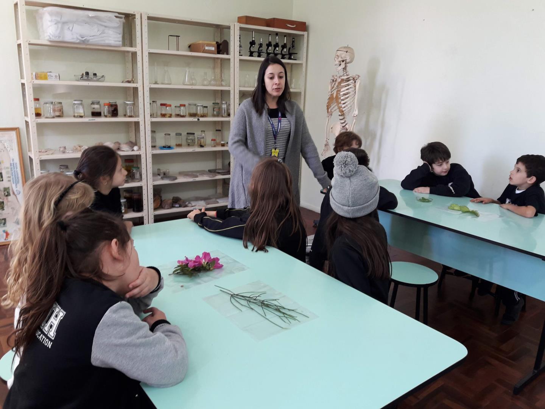 Turma da Unidade Pindorama se aproxima da natureza por meio de aula no laboratório de ciências