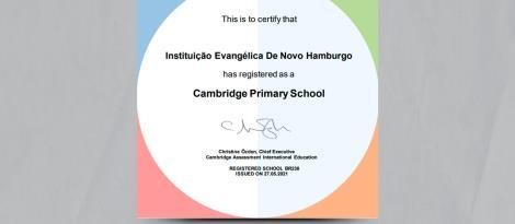 Certificado de Cambridge Primary School é recebido pela IENH