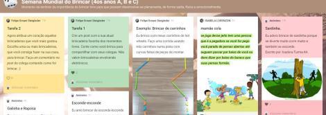 Estudantes compartilham brincadeiras em mural digital
