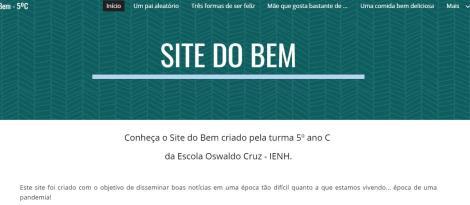 """Estudantes da Unidade Oswaldo Cruz criam """"site do bem"""" para disseminar boas notícias"""